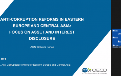 "OECD webinar  ""Anti-Corruption Reforms in Eastern Europe and Central Asia: Focus on Asset and Interest Disclosure"""
